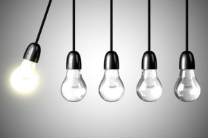 A light bulb will boost extinguished bulbs. Realistic 3d render